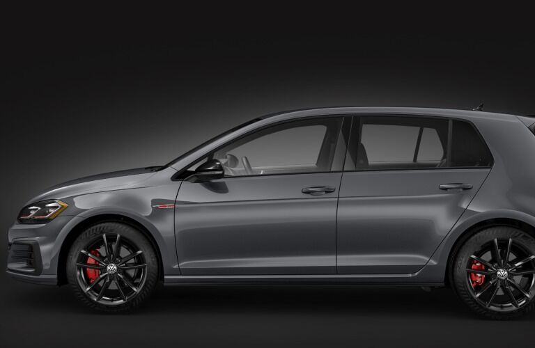 Dark gray 2019 Volkswagen Golf GTI Rabbit Edition from the side