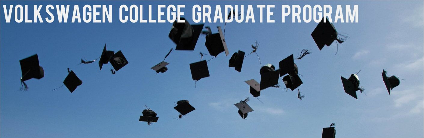 "College caps being thrown in the air with text reading ""Volkswagen College Graduate Program"" above them"
