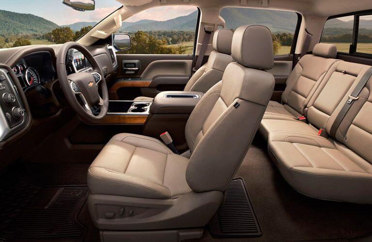 Chevy Silverado cabin with beige leather interior