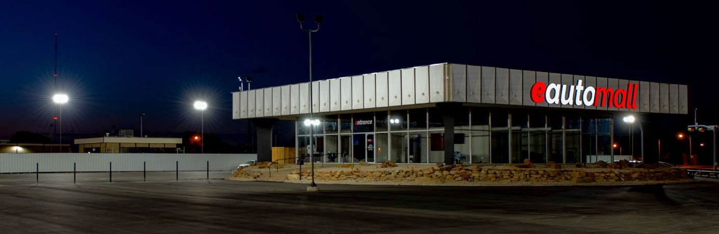 The e Auto Mall storefront and parking lot