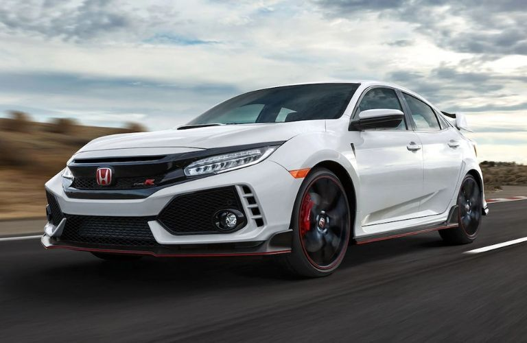 White 2020 Honda Civic Type R on a Track
