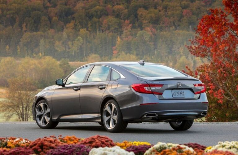 Gray 2020 Honda Accord Touring Rear Exterior on Country Road