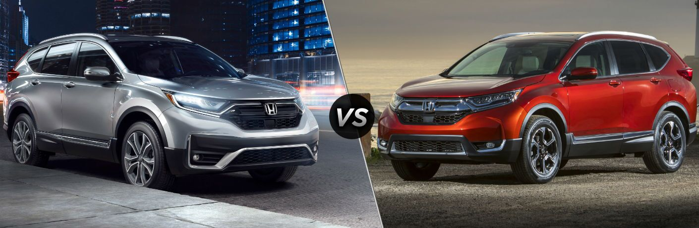 Silver 2020 Honda CR-V on City Street at Night vs Red 2019 Honda CR-V on a Pier at Sunset