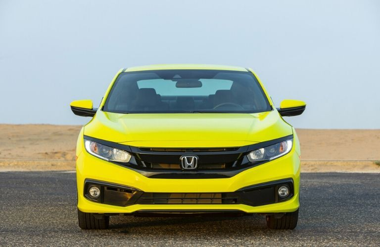 Yellow 2020 Honda Civic Coupe Grille at the Beach
