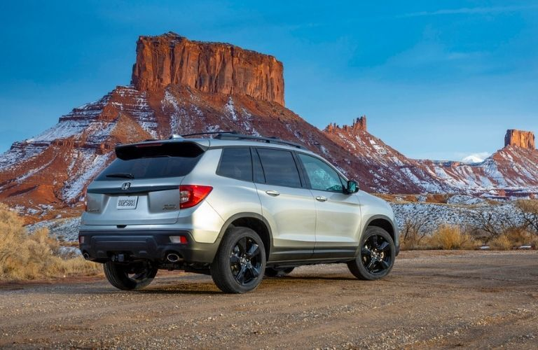 Silver 2021 Honda Passport Rear Exterior in Desert in Winter