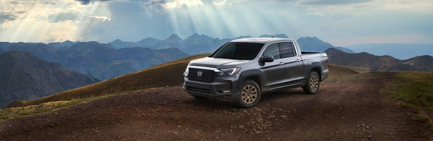 Gray 2021 Honda Ridgeline HPD on a Mountain