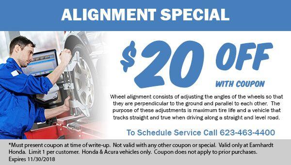 Save on Wheel Alignment at Earnhardt Honda in Avondale