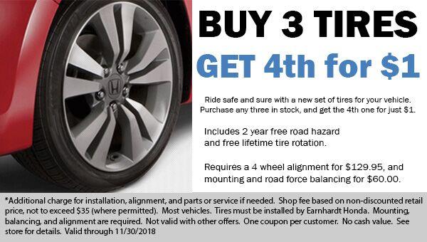 Buy 3 Tires, Get the 4th Tire for $1! Avondale Honda dealer coupon