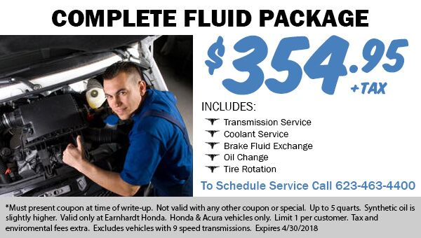 Transmission Service, Coolant Service, Brake Fluid Exchange, Oil Change, and Tire Rotation coupon