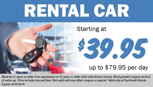 Rental Cars available for Service Customers starting at $39.95