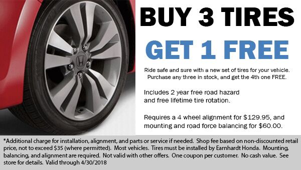 Buy 3 Tires, Get the 4th Tire for FREE! Honda dealer coupon