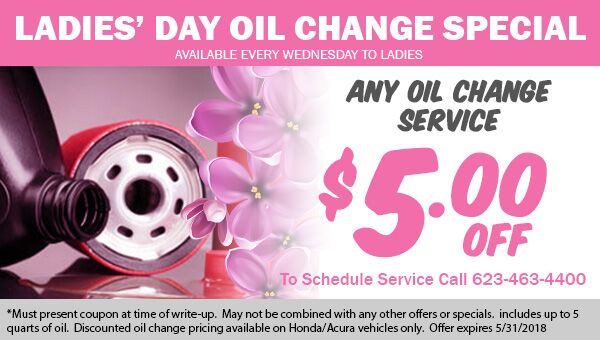 Ladies Day Oil Change Coupon at Earnhardt Honda in Avondale