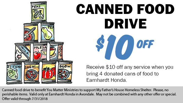 Canned Food Drive! Save $10 when you bring 4 cans of food to Earnhardt Honda in Avondale