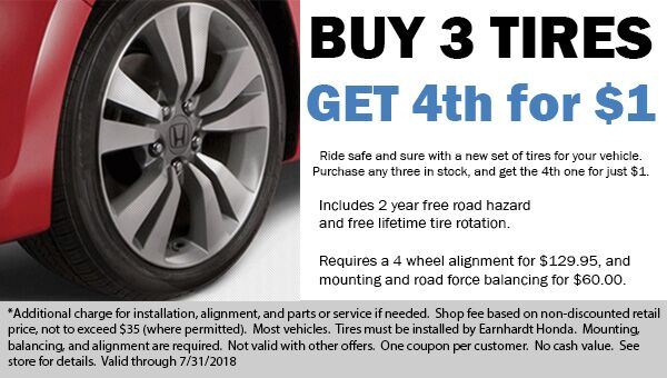 Buy 3 Tires, Get the 4th Tire for $1! Avondale Honda dealer coupon