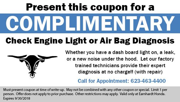 Free Check Engine Light Diagnosis at Earnhardt Honda in Avondale