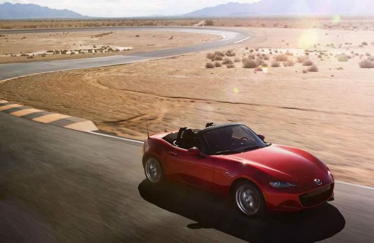 2017 Mazda MX-5 Miata driving through desert