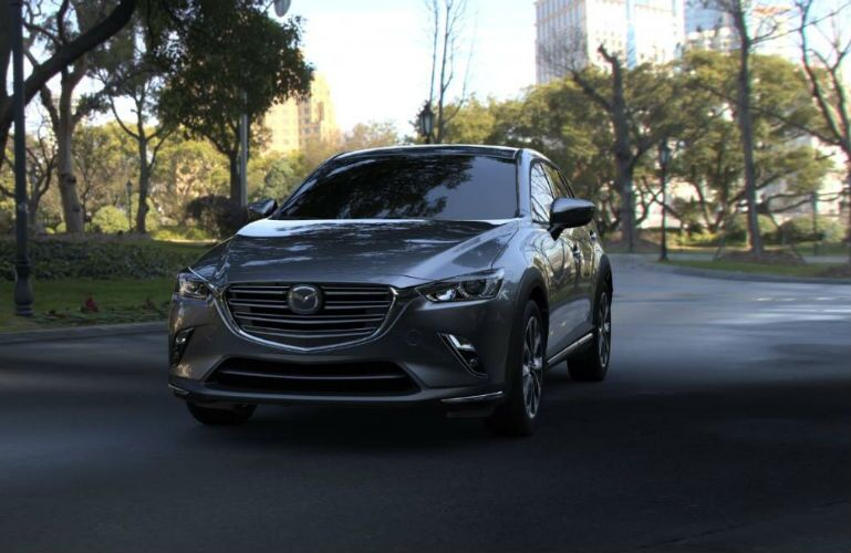 2019 Mazda CX-3 in Machine Gray parked at a park