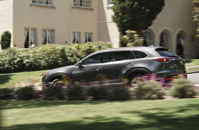 2019 Mazda CX-9 driving past flowers