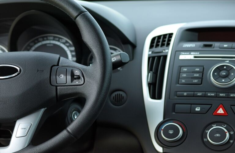 Wheel and Dash of Car