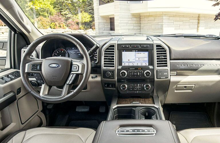 Steering wheel and touch screen inside the 2018 Ford F-150