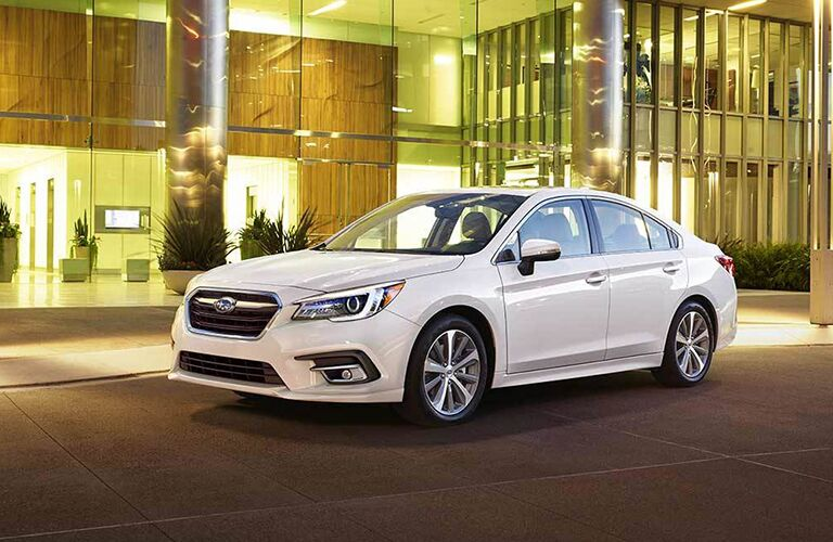 2019 Subaru Legacy Front Diagonal View of White Exterior