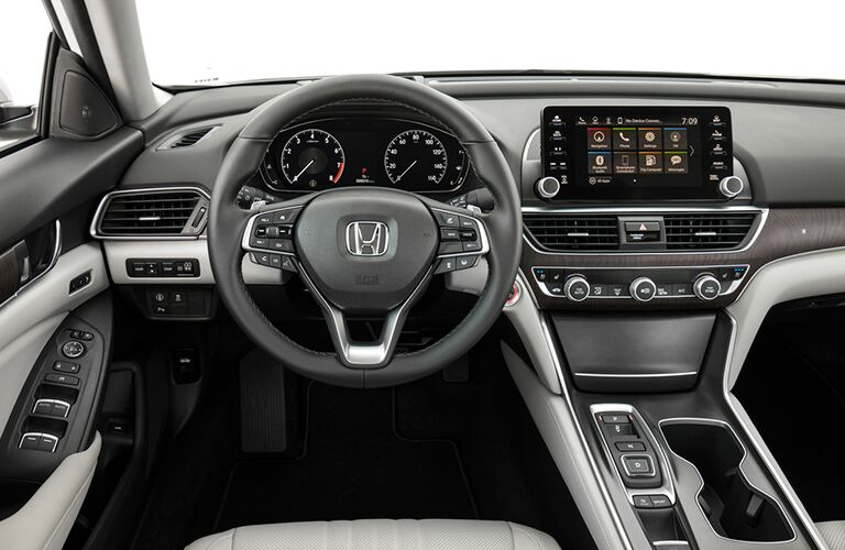steering wheel and infotainment system of the 2019 Honda Accord
