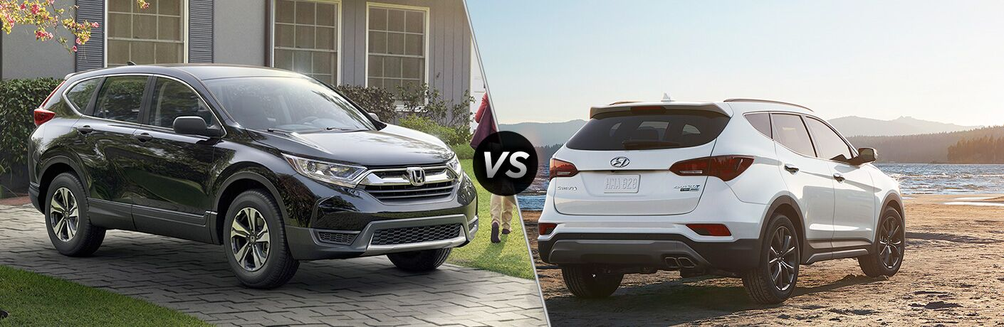 2018 honda cr-v and 2018 hyundai santa fe sport side by side