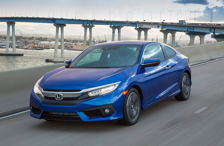 2018 Honda Civic Coupe blue side view