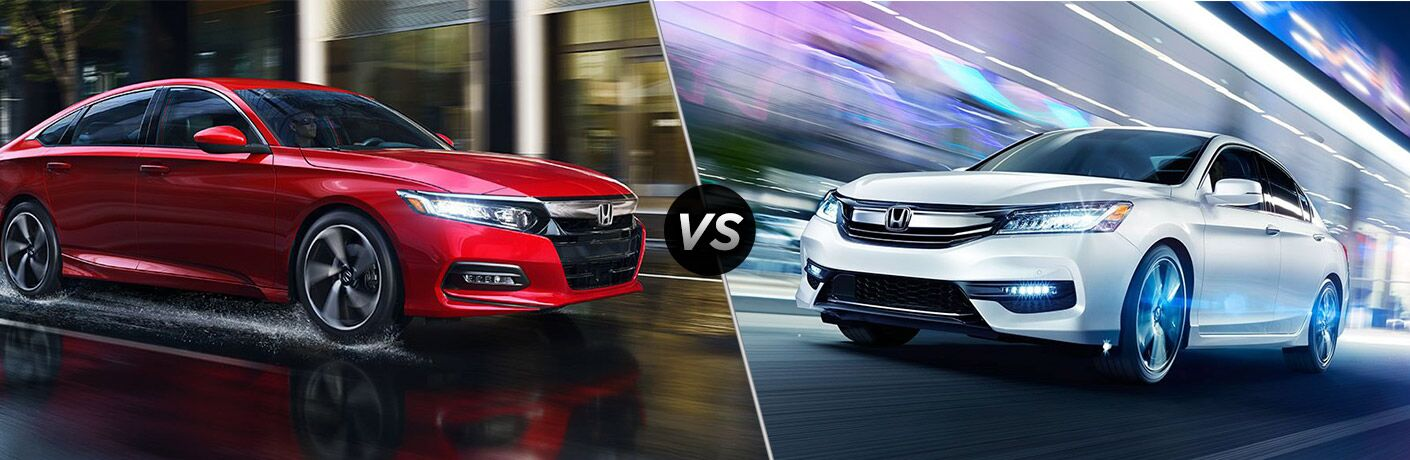 2018 honda accord and 2017 honda accord side by side