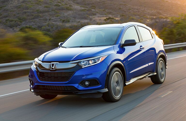front and side view of a blue 2019 Honda HR-V