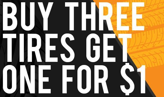 Buy 3, Get 1 for $1 Tires