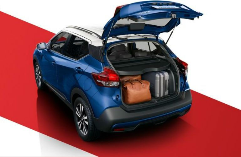 2018 Nissan Kicks with luggage in the cargo area