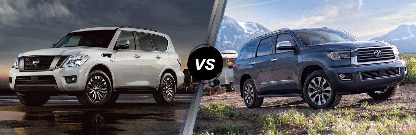 2019 Nissan Armada next to a 2019 Toyota Sequoia