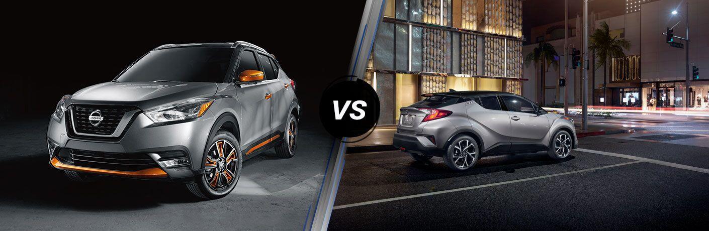 2019 Nissan Kicks next to a 2019 Toyota C-HR