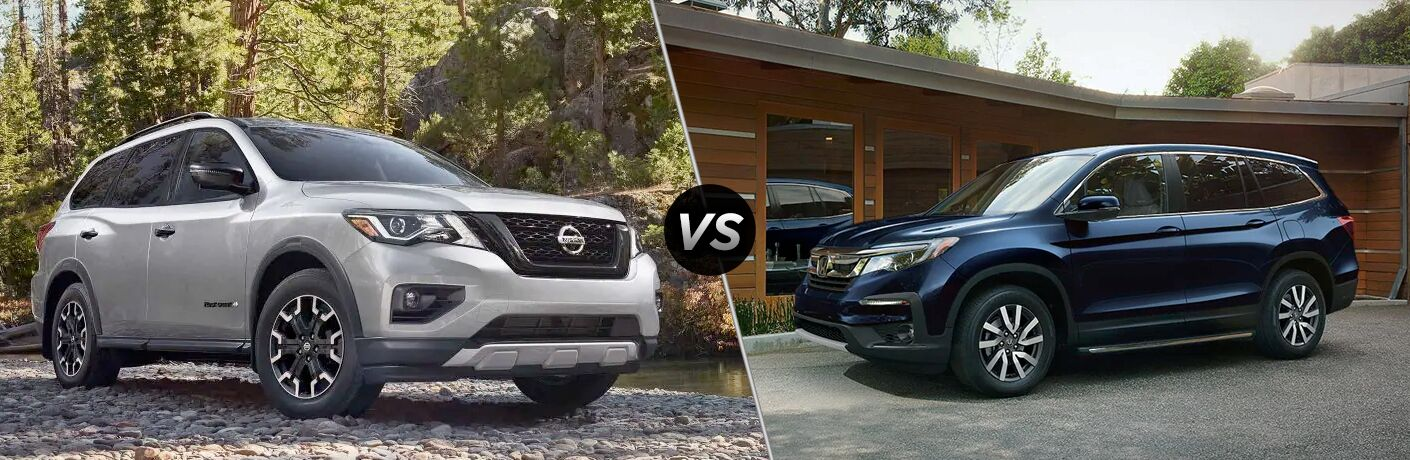2019 Nissan Pathfinder next to a 2019 Honda Pilot