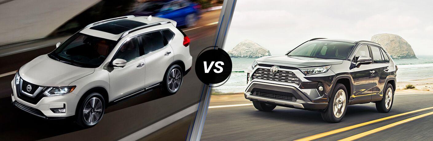 2019 Nissan Rogue next to a 2019 Toyota RAV4