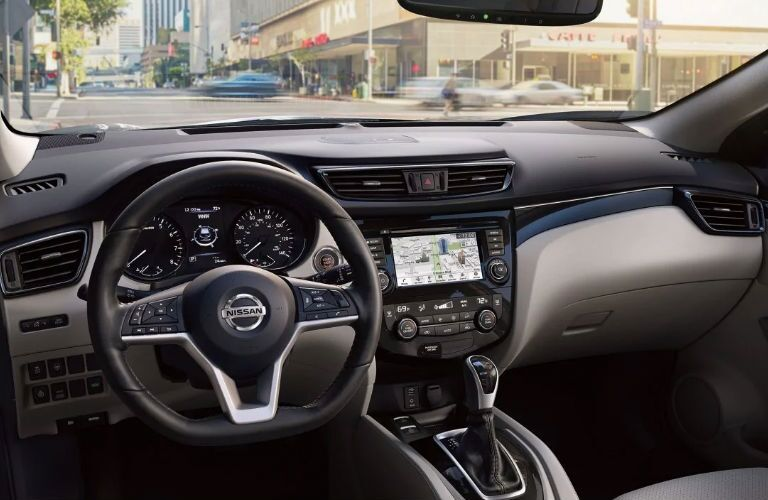 2019 Nissan Rogue Sport dashboard and steering wheel