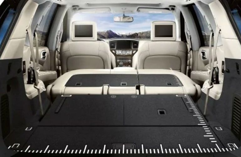 2019 Nissan Pathfinder cargo room with rear seats folded