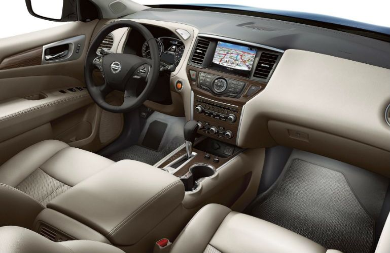 2019 Nissan Pathfinder front interior with Nissan Navigational System