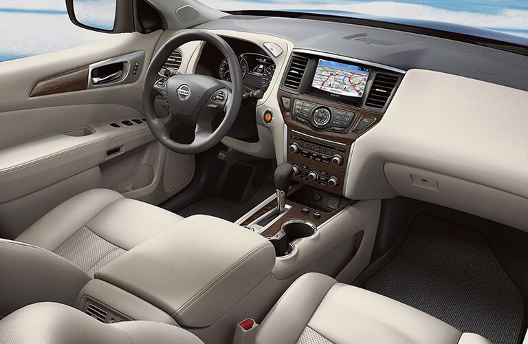 Dashboard, steering wheel and touchscreen of 2020 Nissan Pathfinder