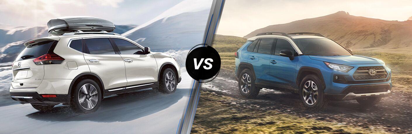 White 2020 Nissan Rogue vs blue 2020 Toyota Rav4