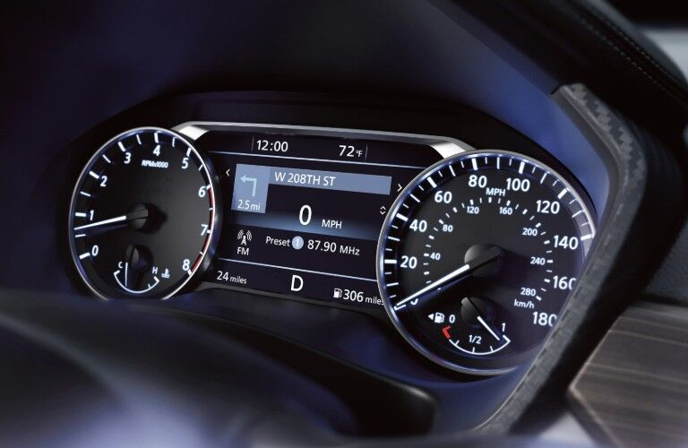 Closeup of gauges in 2020 Nissan Altima