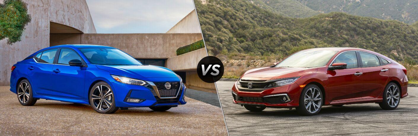 Blue 2020 Nissan Sentra vs red 2020 Honda Civic Sedan