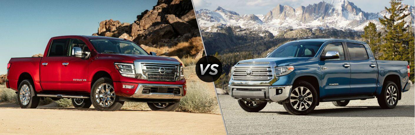 Red 2020 Nissan Titan on desert landscape vs blue 2020 Toyota Tundra in mountainous area