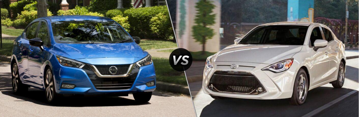 Blue 2020 Nissan Versa vs white 2020 Toyota Yaris