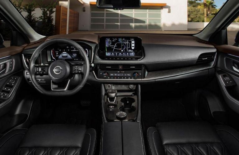 2021 Nissan Rogue interior steering wheel and dashboard
