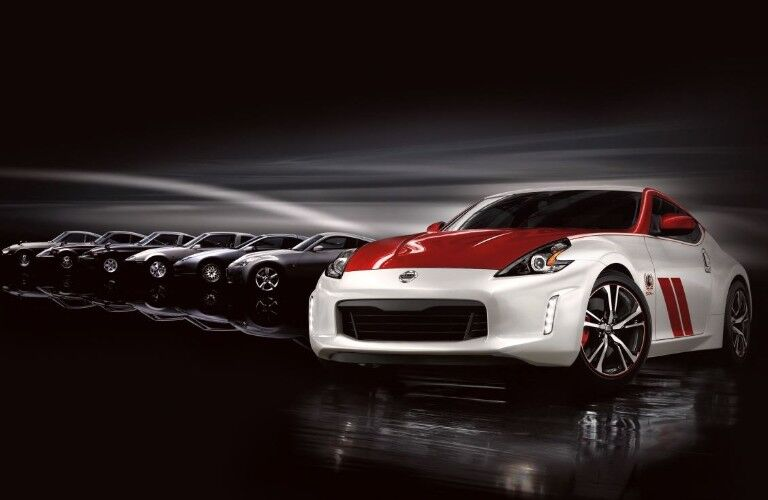 Front view of white and red Nissan 370Z 50th Anniversary Edition