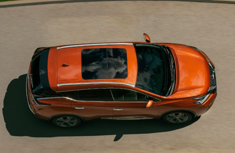 An overhead photo of the 2020 Nissan Murano on a driveway.