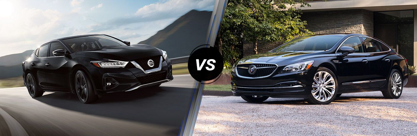 A side-by-side comparison of the 2020 Nissan Maxima vs. 2019 Buick LaCrosse.