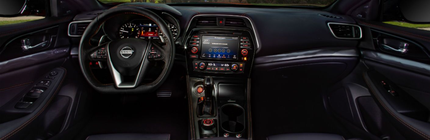 A photo of the dashboard in the 2020 Nissan Maxima.